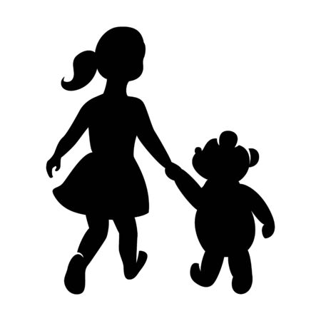 Childrens logo, girl with a bear holding hands Archivio Fotografico
