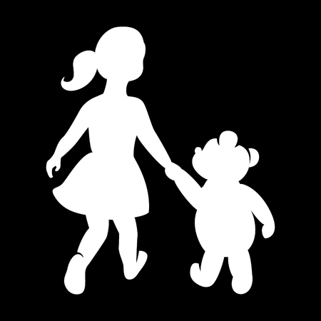 gently: Childrens , girl with a bear holding hands