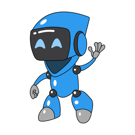 cartoon friendly robot waving his hand