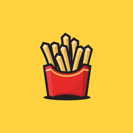 french fries in a red cardboard box, a street food symbol Vector illustration.