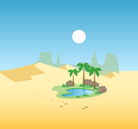 Desert oasis background. Egypt hot dunes with palm trees Illustration