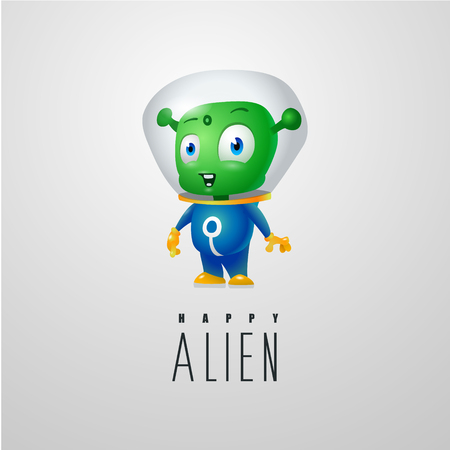 funny cartoon alien in the space suit, a friendly green Martian, character for the company in the modern 3D style Vectores