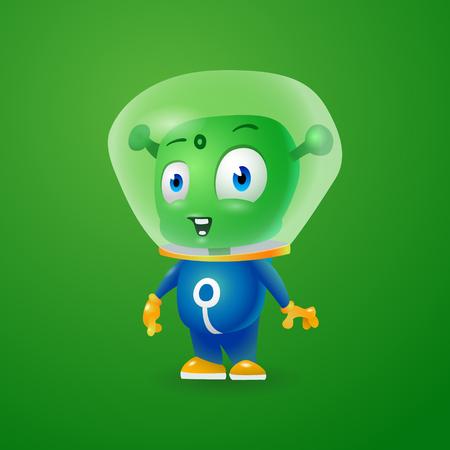 Cheerful green Martian