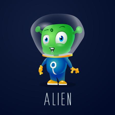 Lustiger Cartoonausländer im Raumanzug, ein freundlicher grüner Marsmensch, Charakter für die Firma in der modernen Art 3D Standard-Bild - 95575102
