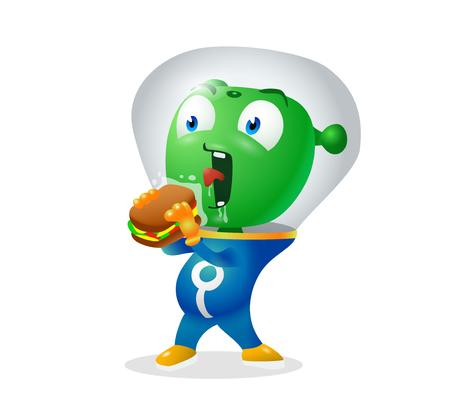 Funny alien trying to eat earthy sandwich