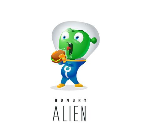 Funny alien trying to eat earthy sandwich.