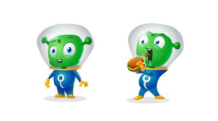 Two funny green aliens 矢量图像
