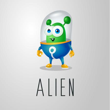 Lustiger Cartoonausländer im Raumanzug, ein freundlicher grüner Marsmensch, Charakter für die Firma im modernen Stil 3D Standard-Bild - 96059448
