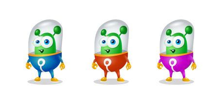 Lustiger Cartoonausländer im Raumanzug, ein freundlicher grüner Marsmensch, Charakter für die Firma im modernen Stil 3D Standard-Bild - 96059447