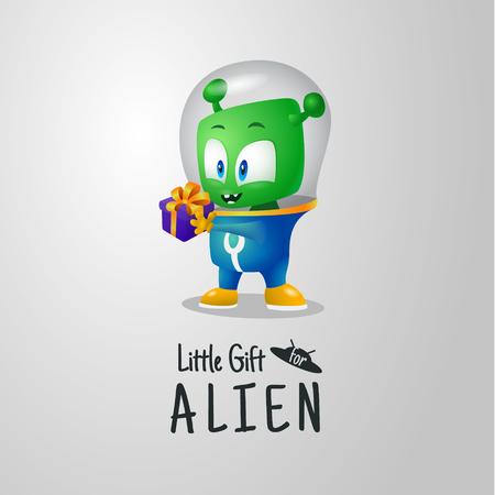 Little gift for green alien, martian in a spacesuit 矢量图像