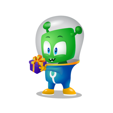 Little gift for green alien, martian in a spacesuit Illustration
