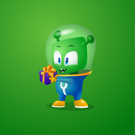 Little gift for green alien, martian in a spacesuit Vettoriali