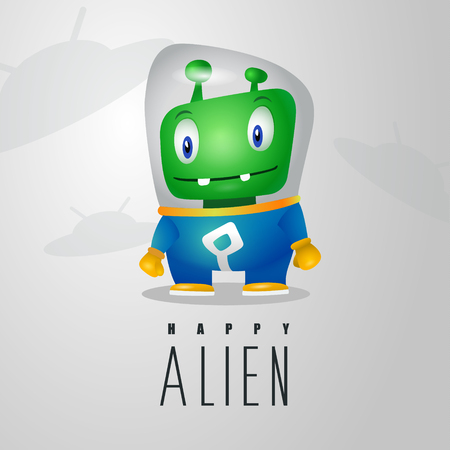 Funny cartoon alien in the space suit, a friendly green Martian, character for the company in the modern 3D style Vettoriali
