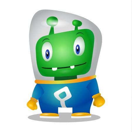 Lustiger Cartoonausländer im Raumanzug, ein freundlicher grüner Marsmensch, Charakter für die Firma in der modernen Art 3D Standard-Bild - 96151780