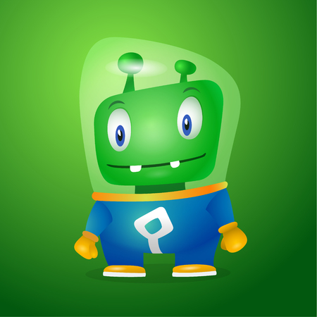 Funny cartoon alien in the space suit, a friendly green Martian, character for the company in the modern 3D style Stock fotó - 96151781