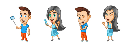 Modern cartoon characters of boy and girl bloggers with gadgets in their hands and winks