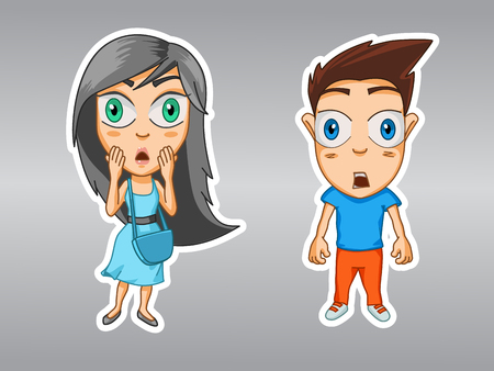 Surprised girl and boy, eyes wide open, hands covering face, cartoon stickers with emotions of characters 矢量图像