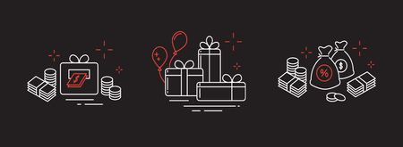 Icons from fine lines, gifts, a lot of money, online winnings. Vettoriali