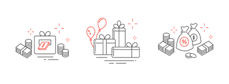 Icons from fine lines, gifts, a lot of money, online winnings. 矢量图像