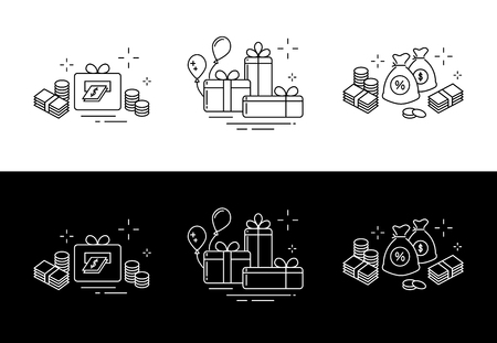 Icons from fine lines, gifts, a lot of money, online winnings. Illustration