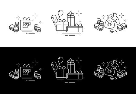 Symbole aus feinen Linien, Geschenken, viel Geld und Online-Gewinnen. Standard-Bild - 96437793