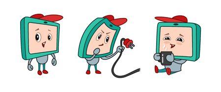 Kinder-TV-Figur, Bildschirm mit Emotionen der Freude, Verwirrung, Freude. Standard-Bild - 96682918