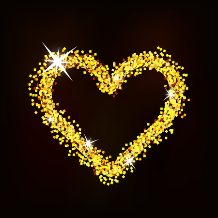 Heart of glitter with glare shines on a dark background.