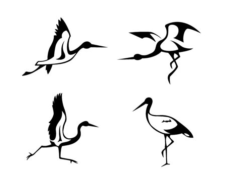 Abstract silhouette of storks. Standard-Bild - 127895304