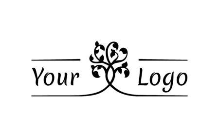 interwoven trees, symmetrical logo on a natural theme
