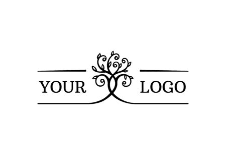 interwoven trees, symmetrical logo on a natural theme Standard-Bild - 127895540