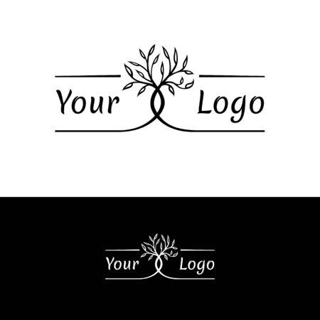 interwoven trees, symmetrical logo on a natural theme Standard-Bild - 127895545