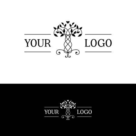 interwoven trees, symmetrical logo on a natural theme Standard-Bild - 127895546