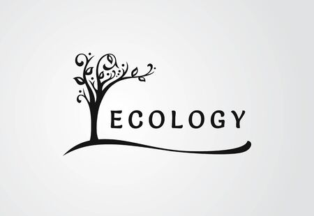 The ecological symbol, the tree blooms and leans over the text Standard-Bild - 127895548