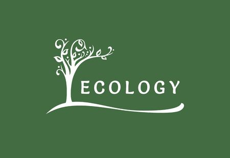 The ecological symbol, the tree blooms and leans over the text Standard-Bild - 127895549