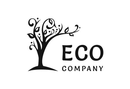 The ecological logo, the tree blooms and leans over the text
