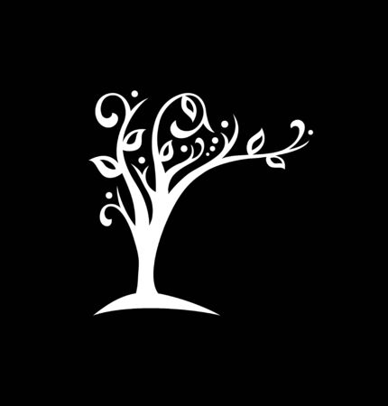 The ecological symbol, the tree blooms and leans over the text Standard-Bild - 127895553