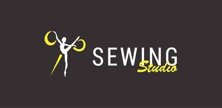 silhouette ballerina and scissors, sewing studio 矢量图像