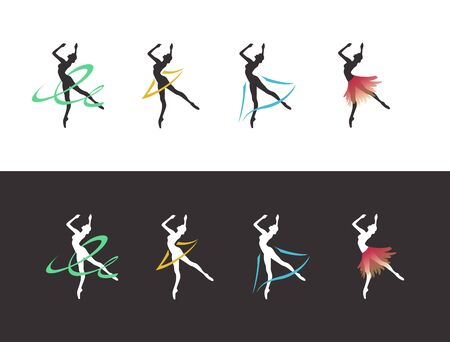 ballet dancer silhouette with ribbons and skirts Standard-Bild - 127895592