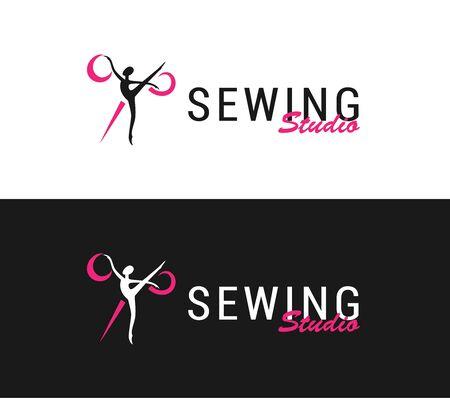 silhouette ballerina and scissors, sewing studio Vettoriali
