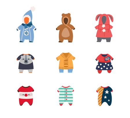 Children's warm clothing, for girls and boys, set of illustrations