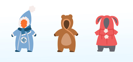 pet costumes, warm winter clothes for kids, flat icons for baby