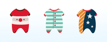 clothes for babies, funny pajamas for children, boys and girls Standard-Bild - 123810500