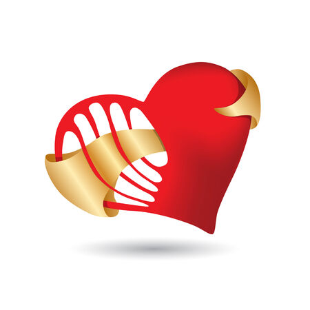 red heart with holes and gold ribbon Vector