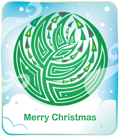 Card with round christmas tree and snow Vector