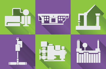 factory equipment, machine tools on color background Vector
