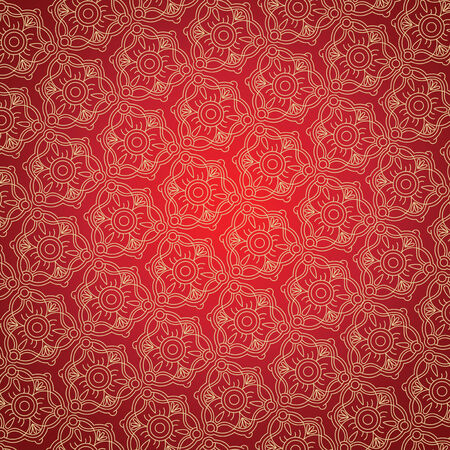 Red background with Gold ornament for fabrik Vector