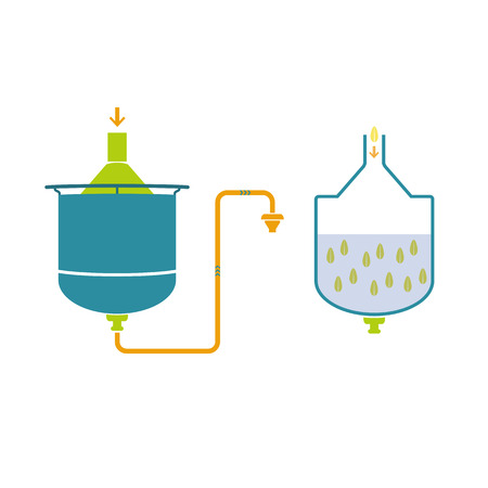 yeast: Infographics, technology of beer production, icon vector Illustration