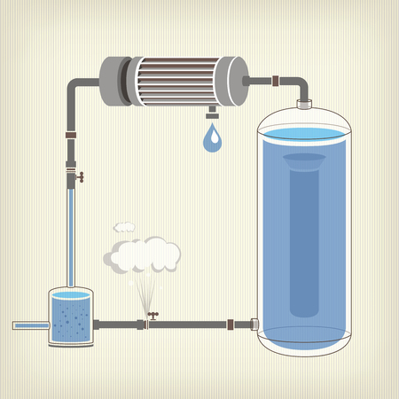 water tank: Infographics scheme with a liquid, a water tank, motor Illustration
