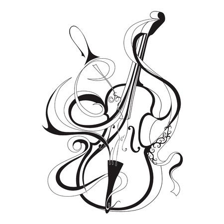 Vector illustratie van abstracte muzikale instrument zwarte lijn viool Vector Illustratie
