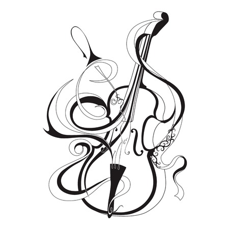 Vector illustration of abstract musical instrument black line violin